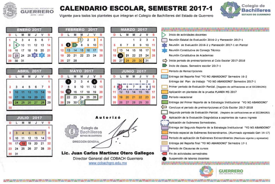 Calendario Escolar Semestre 17-1